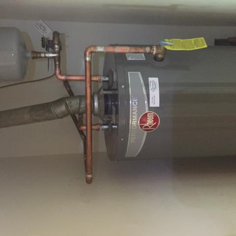 Installed 40 Gallon Rheem natural gas water heater. Also installed Watts 25 AUB pressure regulator (PRV) on main plumbing waterline.