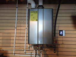 """Installed Rinnai RUR98i natural gas tankless water heater with recirculating system. Upgraded gas line from 1/2"""" to 3/4"""". Replaced plumbing pressure regulator (PRV) in crawlspace. Checked other plumbing"""