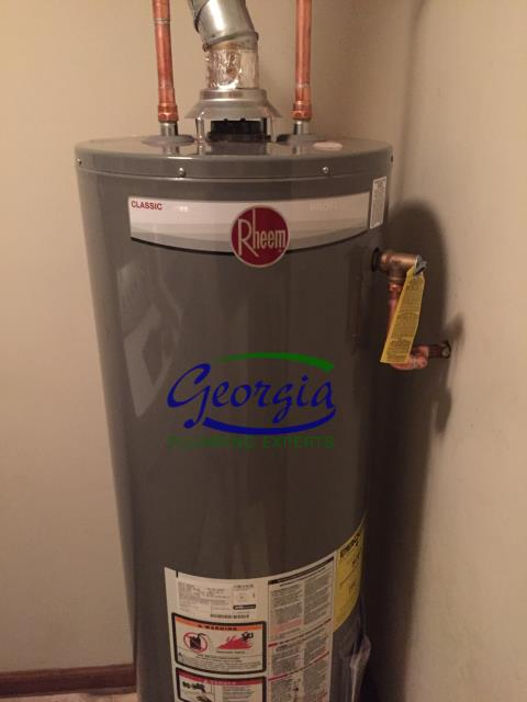 Acworth, GA - Furnished and installed 40 Gallon Rheem natural gas water heater and expansion tank. Checked other plumbing items.