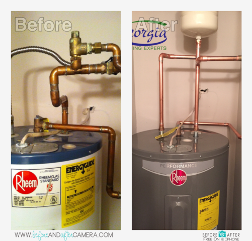"Installed customer furnished Rheem 50 gallon electric water heater and expansion tank. Also installed new 3/4"" ball valve at water heater. Checked plumbing pressure at 70 PSI"