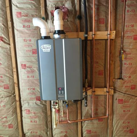 Furnished and installed Rinnai RUC98i natural gas tankless water heater. Checked plumbing pressure at 60 PSI