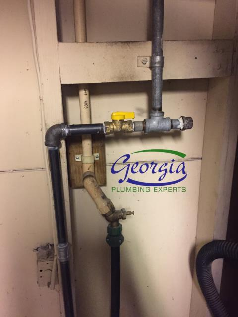 Gas company found leak on gas line. Repaired natural gas leak and relit appliances.