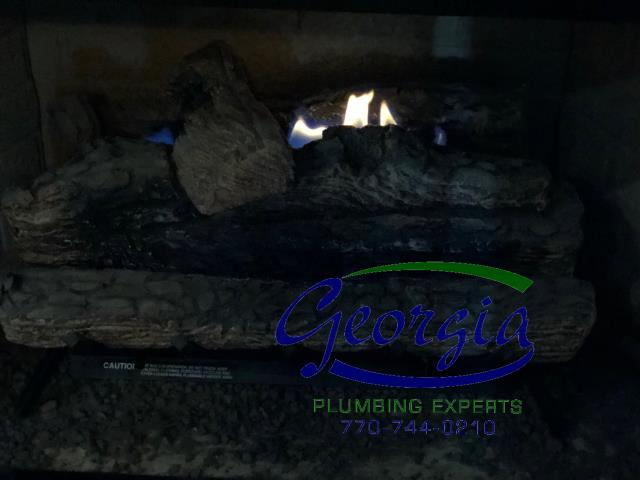Cartersville, GA - Cleaned gas logs and checked for natural gas leaks. Cycle tested gas logs.