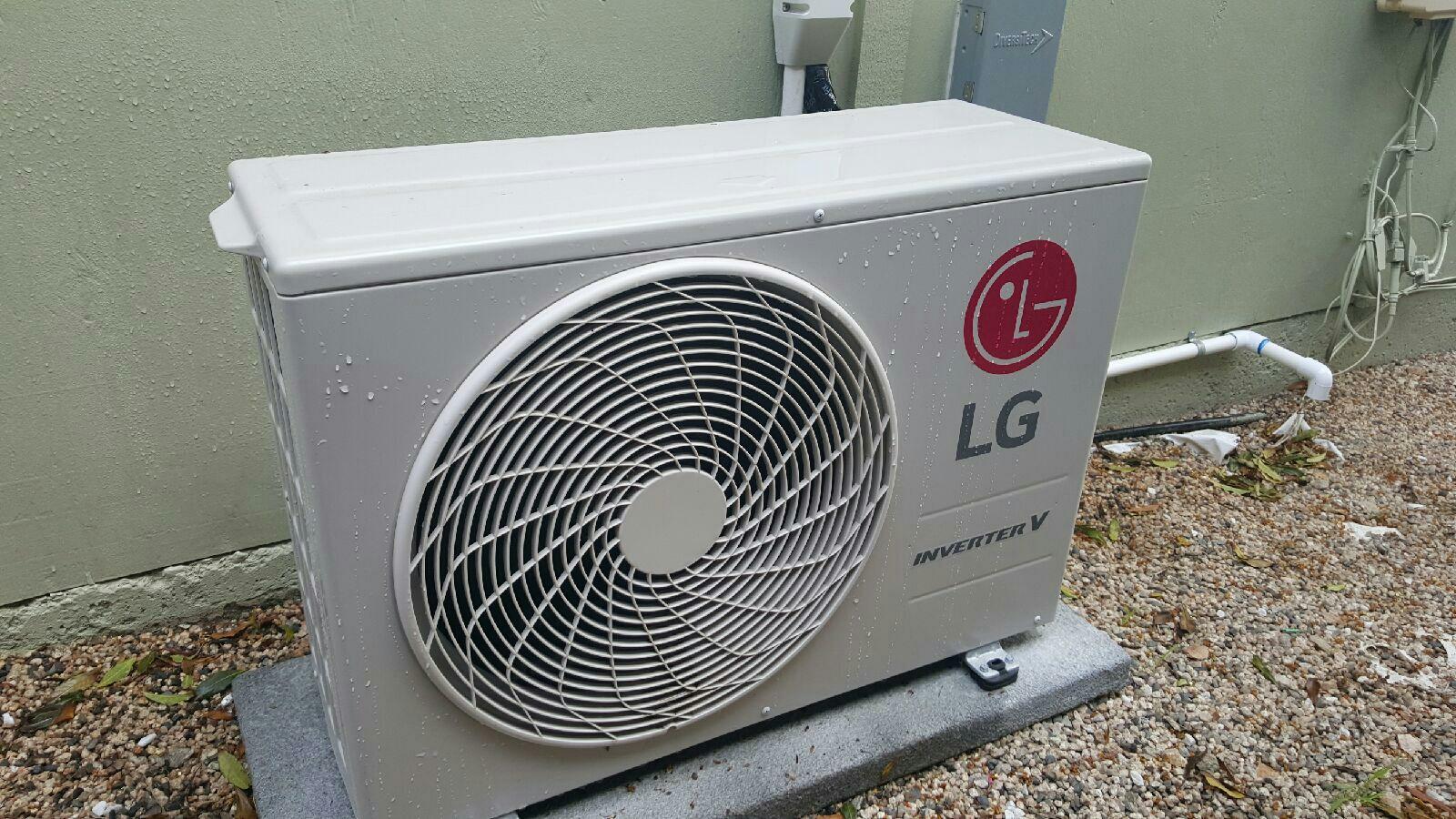Laguna Beach, CA - Performing energy savings preventive maintenance on a LG mini split art cool ductless air conditioner.