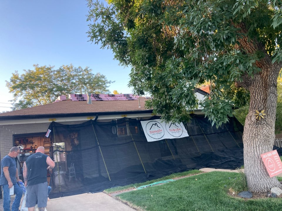 Renovation day is here! Tearing off the old hail damaged roof and installing Owens Corning Duration in Onyx Black as well as installing brand new gutters on this beautiful house in Northglenn