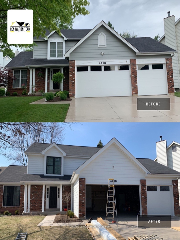 St. Louis, MO - We finished this new James Hardie siding job today in south St. Louis county. The client choose Arctic white James Hardie lap siding & trim. They chose white Mastic Ventura hidden vent soffit & aluminum wrap on fascia wood & garage door frame.  We first installed new Quaker vinyl replacement windows with black exterior frames. This was a total exterior makeover. The client told me they were extremely happy working with Renovation Team and found the quality work of the crews to be outstanding.