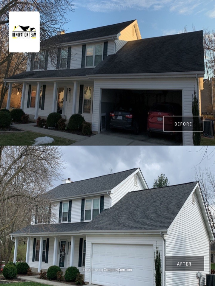 Saint Charles, MO - We installed this new asphalt shingle roof today in St. Charles, MO. The client chose Owens Corning Duration architectural shingles, color = estate gray. We also installed Owens Corning VentSure continuous ridge vent. The client was very happy with the crew and Renovation Team for help with this hail damage insurance claim.