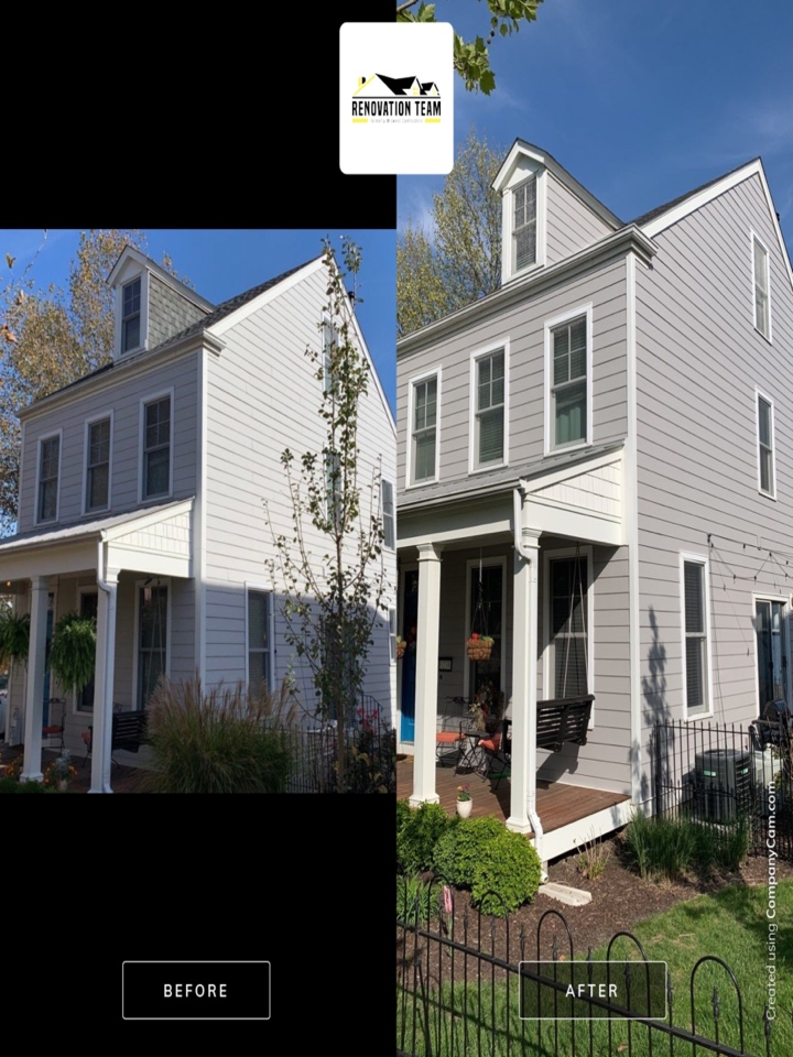 Saint Charles, MO - Here are before & after photos for this James Hardie fiber cement siding project we completed today in new town St. Charles. The client chose James Hardie lap siding, color = pearl gray with corner trim = arctic white. The client is extremely happy with her new James Hardie siding and with Renovation Team for the installation and project management.