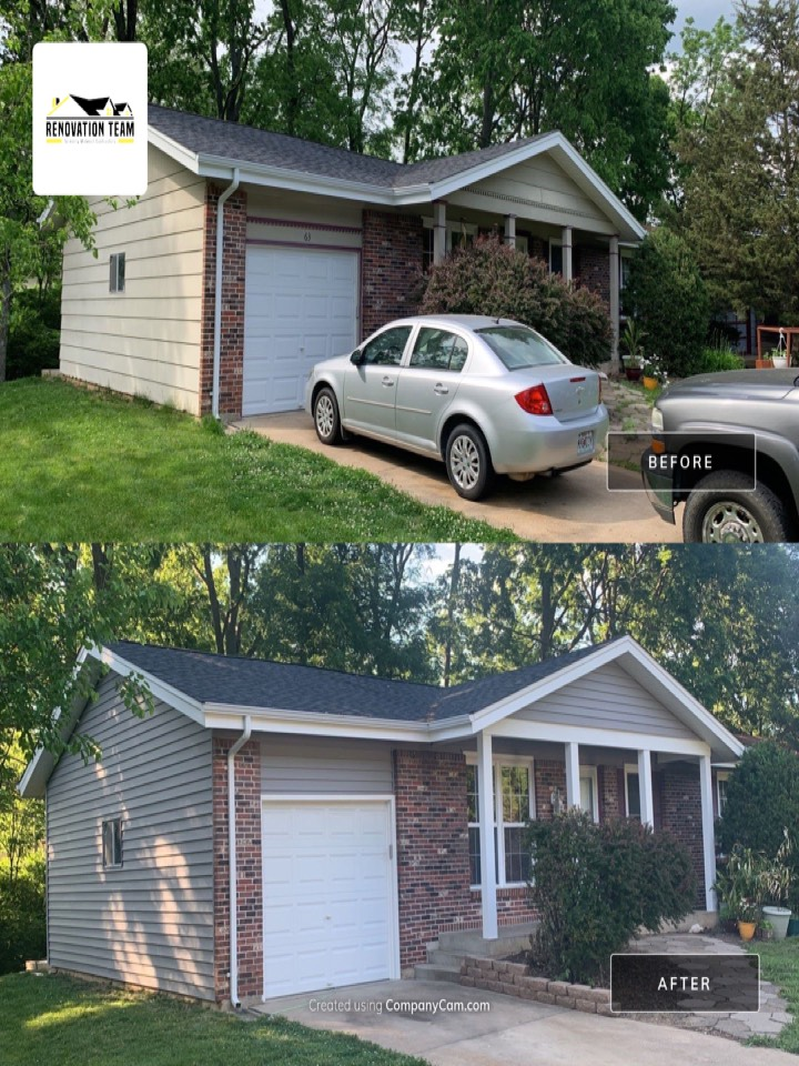 Fenton, MO - We completed this new vinyl siding and  aluminum wrap project in Fenton, MO in 2 days. The client chose Mastic Carvedwood vinyl siding, color = harbor grey with white aluminum wrap columns, porch beam & garage door wrap. This is a repeat client from 2019 (soffit & fascia project) who told me she was once again extremely happy with Renovation Team and our crew. She plans to call us again next year for their next project.