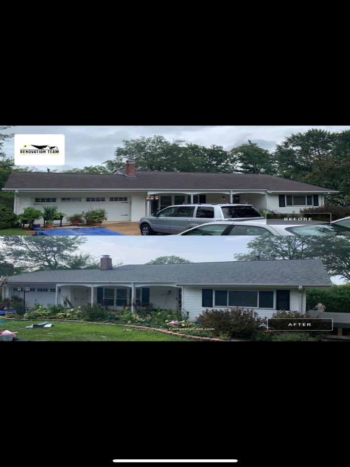 St. Louis, MO - We installed a new asphalt shingle roof today in the Creve Coeur area, covered by insurance after the hail storm on July 9, 2021. The client chose Owens Corning Duration architectural shingles, color = estate gray plus an Owens Corning VentSure continuous ridge vent for optimum roof ventilation.  The client told me she was impressed with the roof crew's work ethic and also their attention to detail cleaning up after the install.