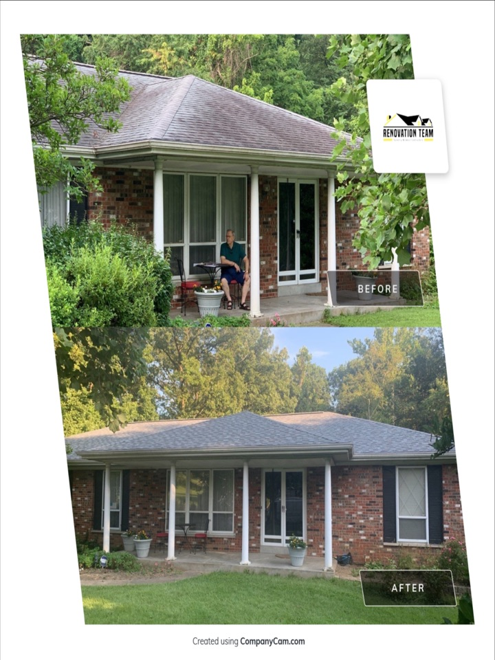 Saint Ann, MO - We installed this mew roof today in St.Ann. This was a hail damage claim covered by insurance. The client choose Owens Corning Duration architectural shingles, color = quarry gray. The client was very happy our crew of 7 finished the house and detached garage  in 1 day and loves the new roof.