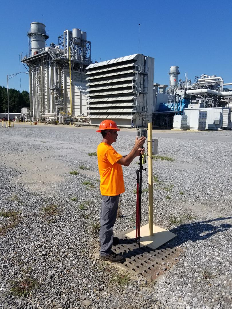 Alexander City, AL - Alabama Land Surveyors, Inc., Shooting stormwater  inlets at Hillabee Power Plant. Alexander City, Alabama.