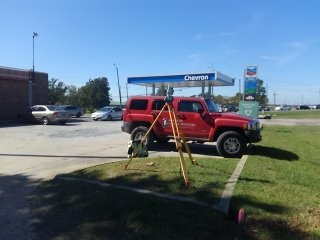 Retracement Survey of Chevron gas station in Montgomery, Alabama. Let us survey your commercial property.