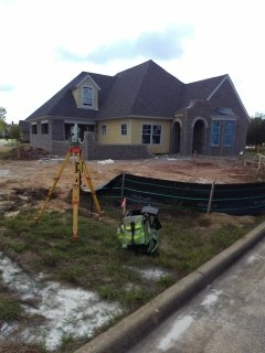 Retracement survey and slab survey for new home construction at Lockwood Subdivision in Montgomery, Alabama.
