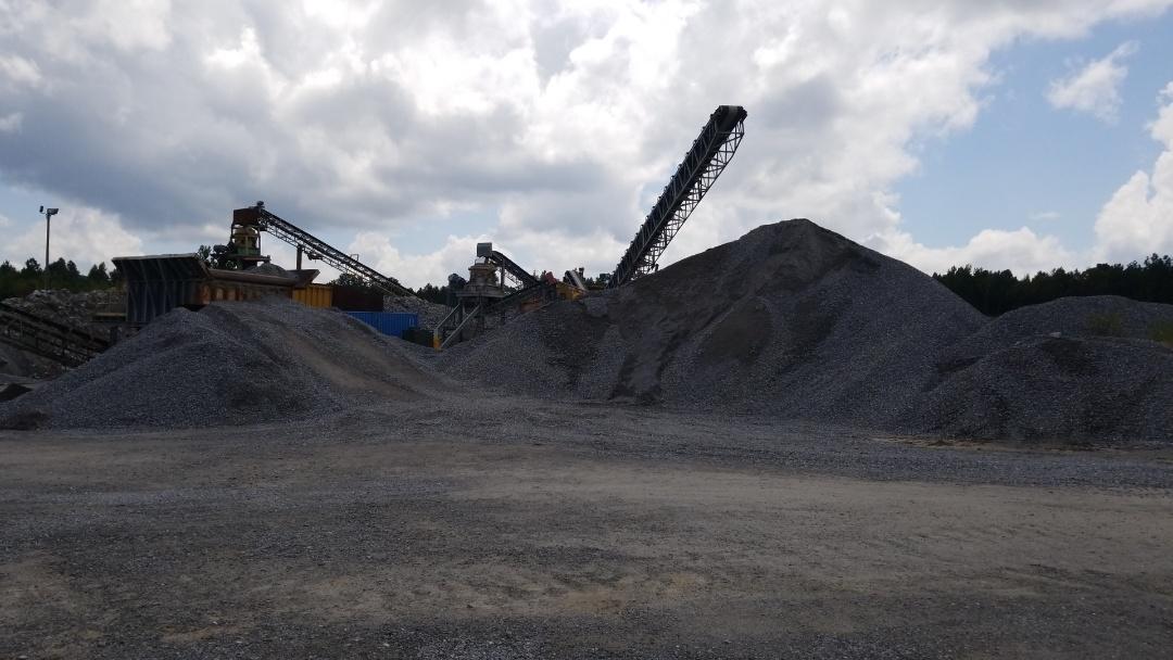 Measuring stock piles. Hard Rock Quarry