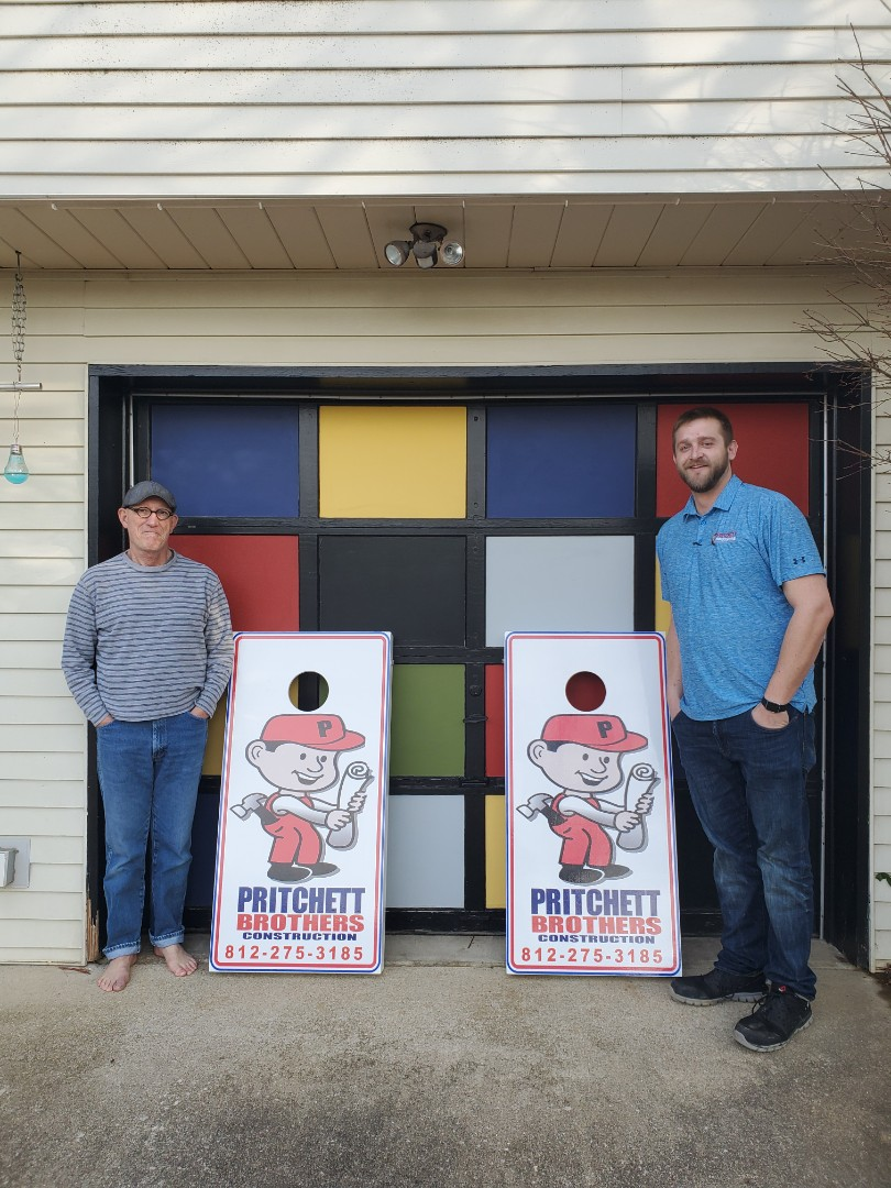 Bloomington, IN - Delivering our corn hole boards to our raffle winner.