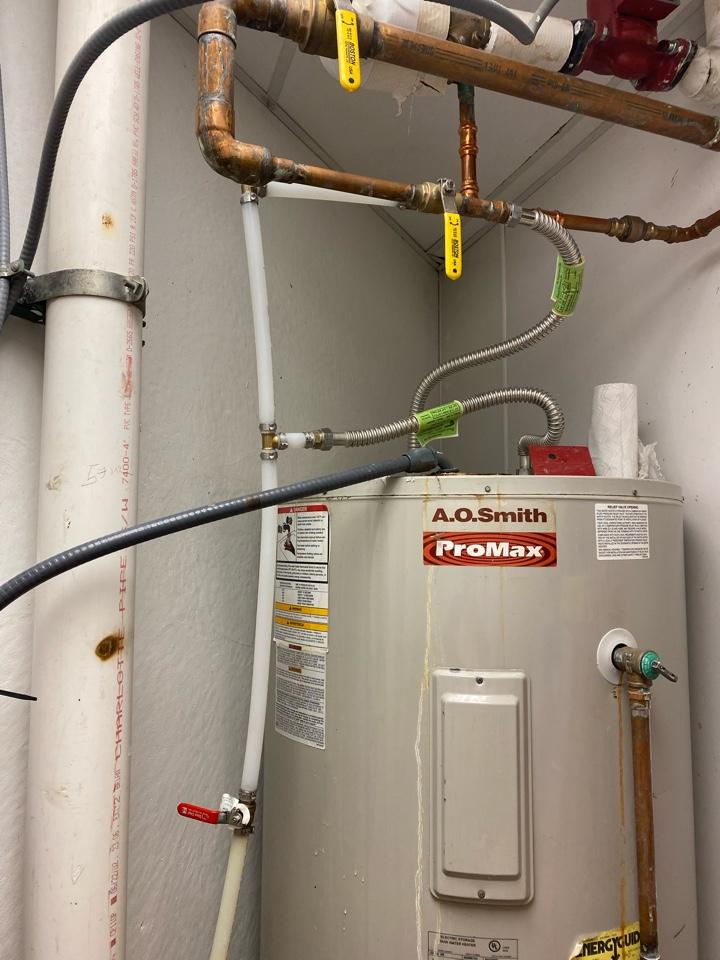 Jenks, OK - Repairing a leak on a water heater at the Oklahoma Aquarium in jenks