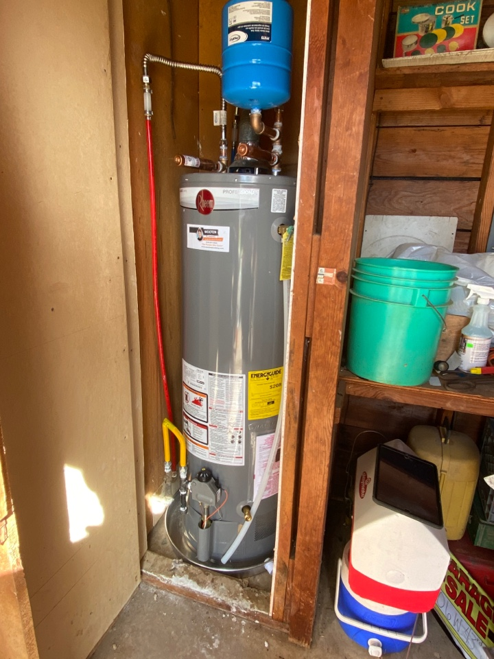Sand Springs, OK - Installed brand new Rheem water heater with a 10 year warranty