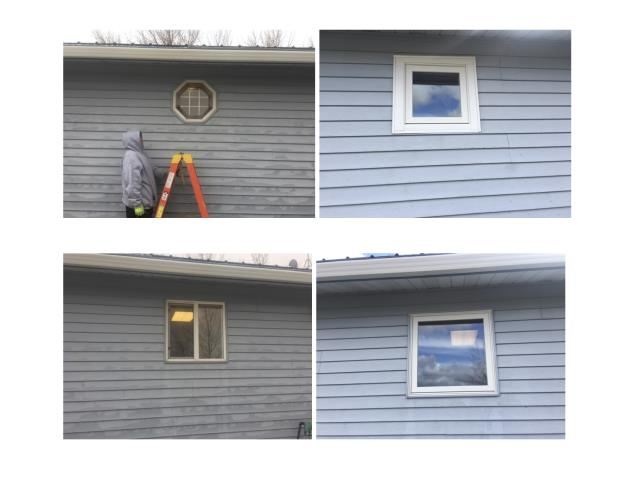 Hardin, MT - Replaced hexagon window & old slider kitchen window with new Renewal by Andersen square & awning windows.