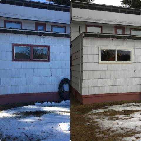 Libby, MT - We replaced this leaky wood kitchen window with our Fibrex glider in Libby!