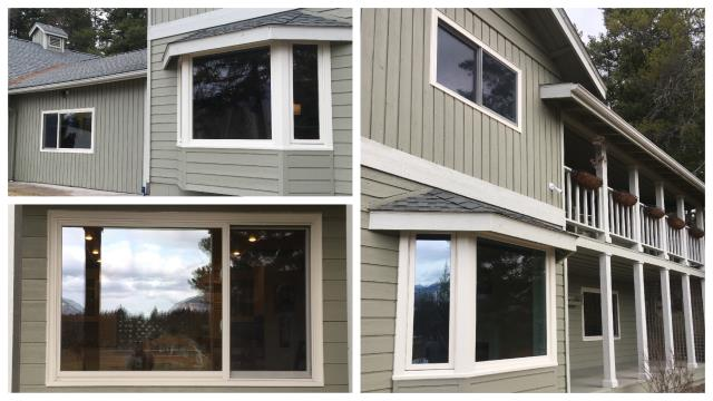 Columbia Falls, MT - We replaced 13 wood windows with our Maintenance free Fibrex Windows in Columbia Falls!