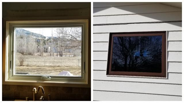 Missoula, MT - An inside/outside view of a new Fibrex awning window we replaced in this kitchen in Missoula!