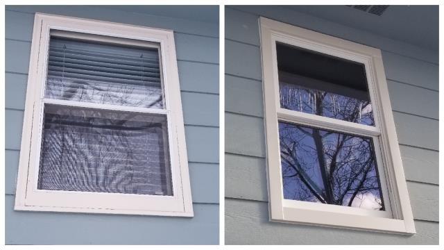 Spearfish, SD - Our professional installers replaced these old drafty windows with new Fibrex double hung inserts in Spearfish!