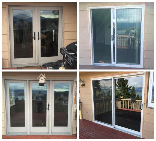Somers, MT - Our professional installers replaced every window and door in this house in Somers.  We removed old rotting wood windows and replaced them with insulated Fibrex composite frame windows and new Sliding Patio doors.
