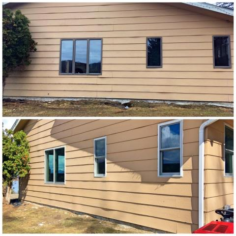 Somers, MT - Our professional installers replaced every window and door in this house in Somers.  We removed old rotting wood windows and replaced them with insulated Fibrex composite frame windows.