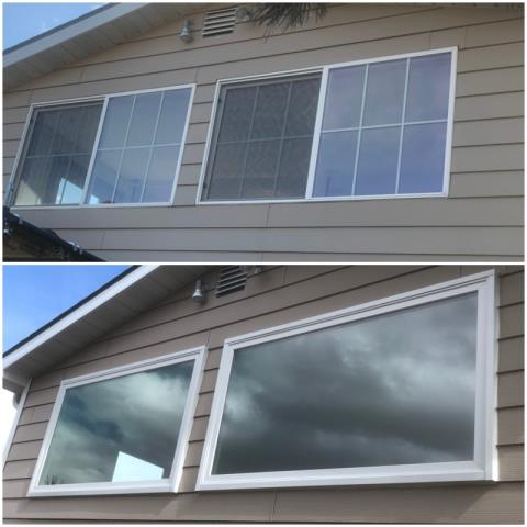 East Helena, MT - We replaced 3 windows in East Helena with insulated Fibrex windows. Getting rid of the grills really opened up the view!