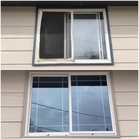 Torrington, WY - We replaced this rotted wood brick mold window with a new tinted fibrex slider window in Torrington!