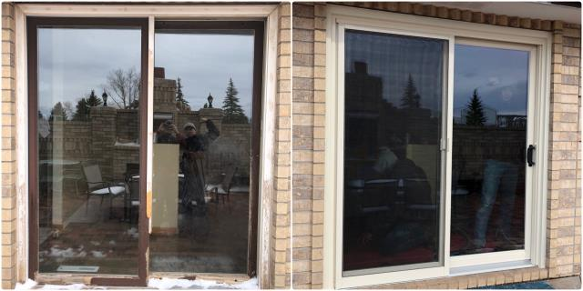 Wheatland, WY - Our professional installers replaced this old wood gliding door with a new Renewal by Andersen Fibrex gliding door in Wheatland!