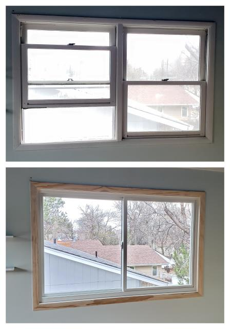 Billings, MT - We swapped out these wood mulled double hung windows for new Renewal by Anderson fibrex gliders in Billings.