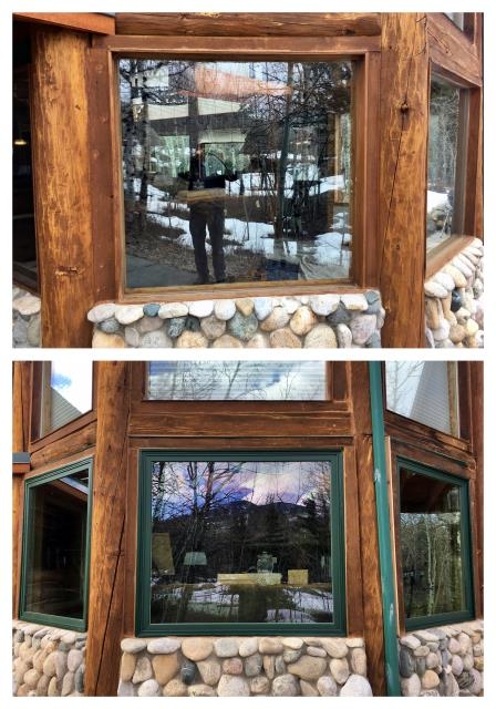 Red Lodge, MT - Our installers replaced these old leaking windows with new Renewal by Andersen Fibrex windows in Red Lodge