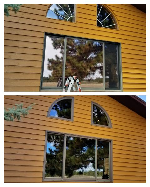 Newcastle, WY - Replace these old fly infested triple glider and quarter round configuration with new Renewal by Andersen Fibrex windows in Newcastle.