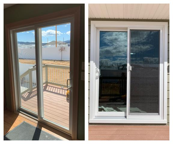 Butte, MT - We replaced a wood French door with a Renewal by Andersen shield door in Butte. Inside/outside view