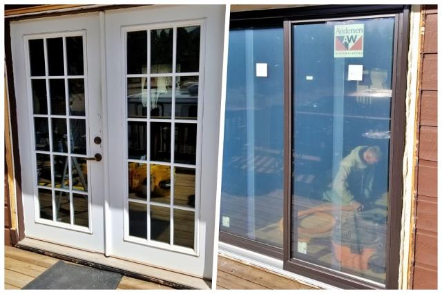 Hill City, SD - We replaced two french doors with new insulated gliding doors in Hill City.