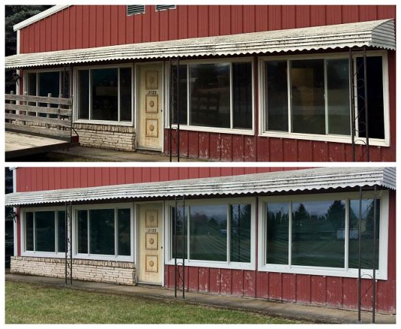 Kalispell, MT - Our install team replaced 9 windows and trimmed them with custom aluminum trim on this building in Kalispell.