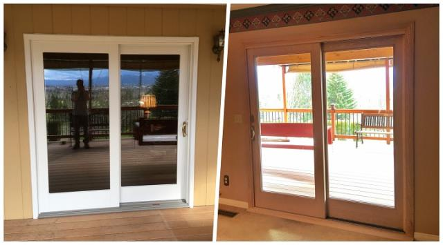Missoula, MT - Our professional installers swapped out a hinged door with a Renewal by Andersen insulated sliding glass door.