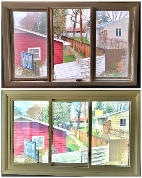 Casper, WY - Our installers replaced an old rotten casement with a new fibrex gliding window in Casper