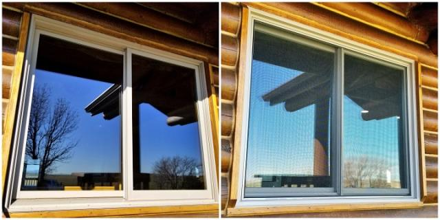 Hermosa, SD - Replaced these old wood metal clad single glider windows leaking air with new fibrex framed Renewal by Andersen double gliders windows in Hermosa!