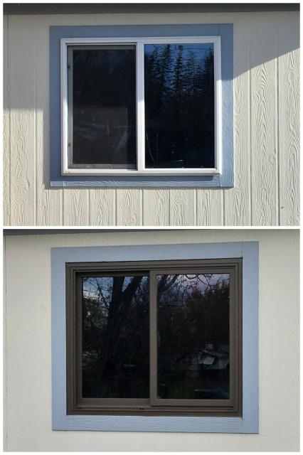 Kalispell, MT - We replaced 6 moldy vinyl windows in this manufactured home in Kalispell
