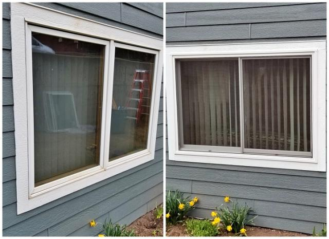 Lead, SD - Replaced old failing windows with three Renewal by Anderson Fibrex glider and three casement windows on this home in Lead. Our installers built new sills and aprons on all six windows.