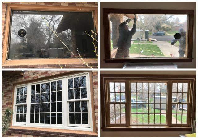 Cheyenne, WY - Our install team replaced old plate glass with new Fibrex double hungs and a picture window in Cheyenne.