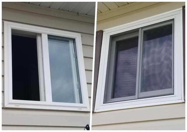 Rapid City, SD - Our team replaced this old vinyl window with a Renewal by Andersen Fibrex window.