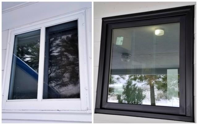 Edgemont, SD - Our installers replaced these old painted original windows with Renewal by Andersen windows maintenance free fibrex brick mold in Edgemont