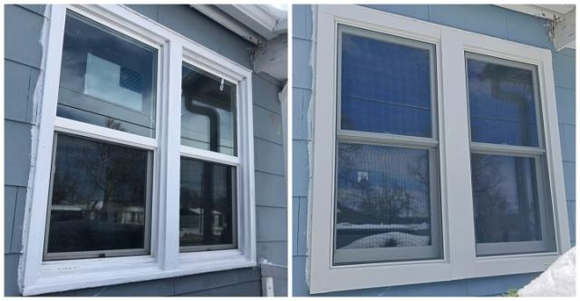 Cheyenne, WY - We replaced these old wood windows with new Renewal by Andersen Fibrex double hung windows in Cheyenne!