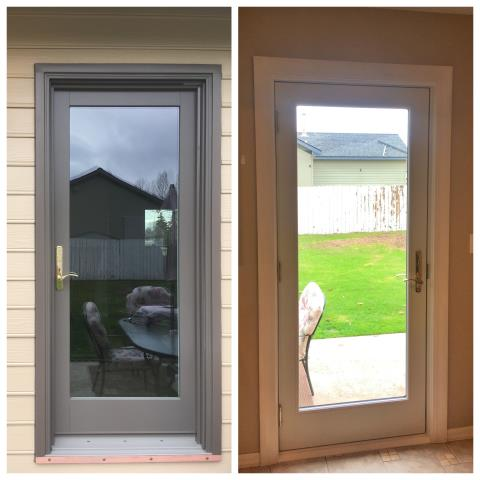 Columbia Falls, MT - We replaced a patio door on this house in Columbia Falls.  Here's an inside/outside look.