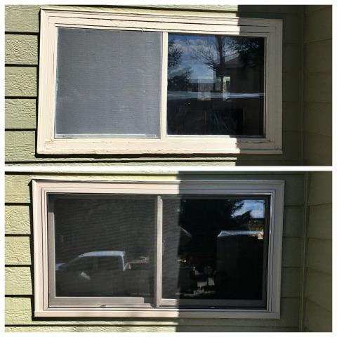 Douglas, WY - We removed wood brick mold windows on this home in Douglas and replaced with fibrex windows from Renewal by Andersen.  Customer was thrilled about no exterior painting!