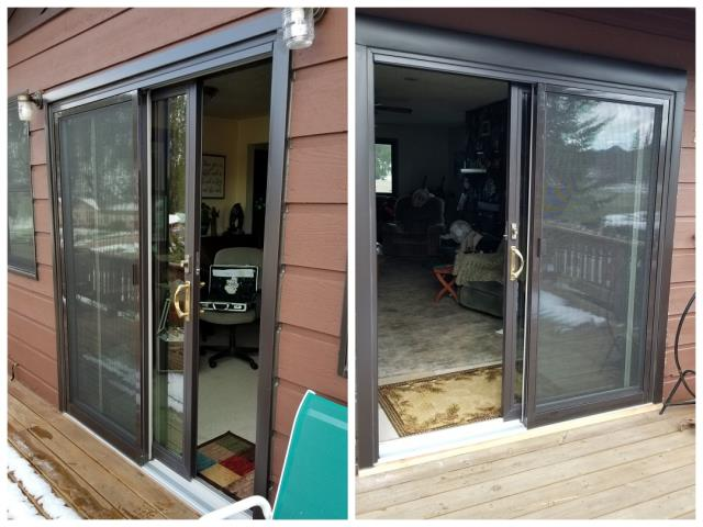 Hill City, SD - Here are a couple of sliding patio doors we recently replaced in Hill City.